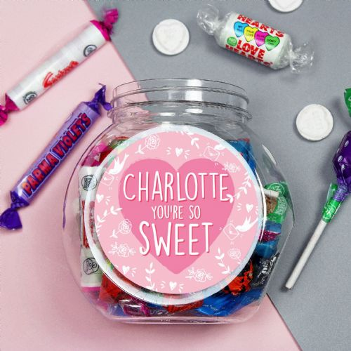 Personalised Sweet Jar Gift For Valentines Day, Birthdays and Special Friends